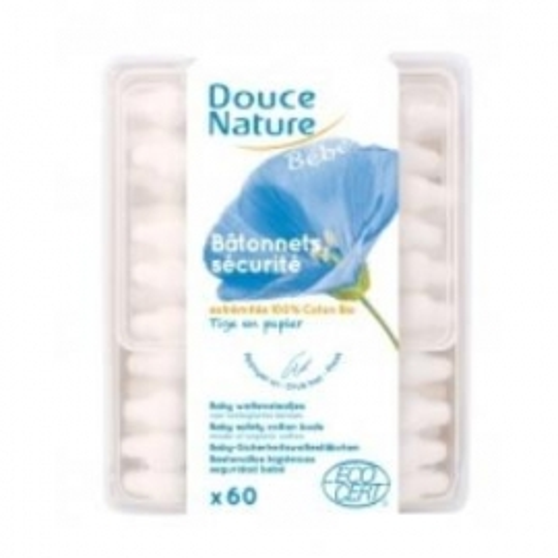Bastoncillos Seguridad de Algodón para Bebés DOUCE NATURE 60 ud